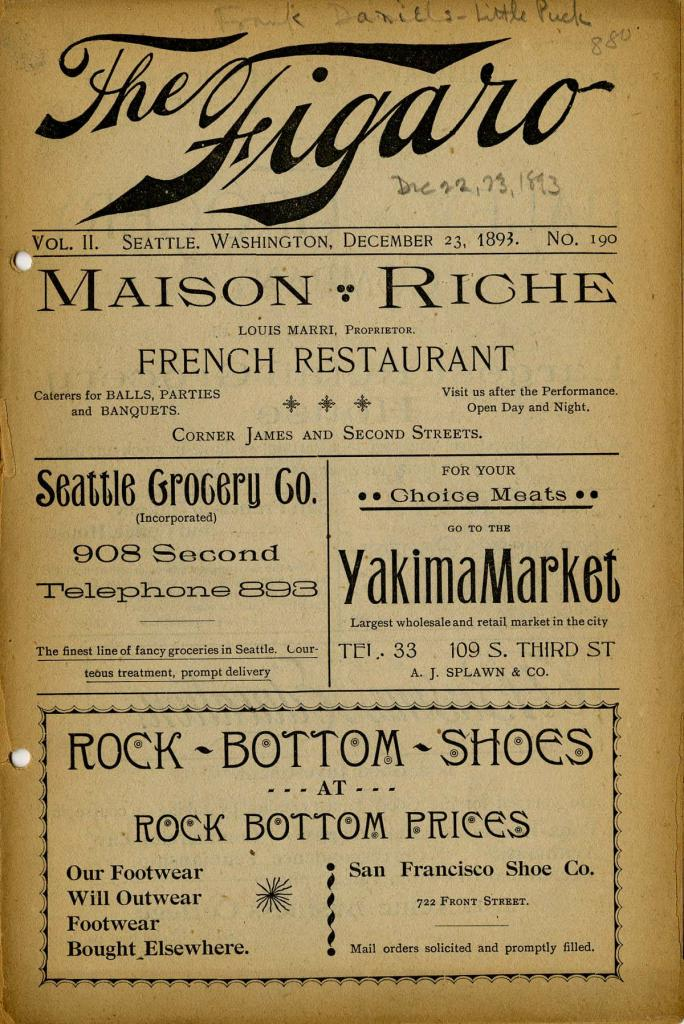 "The Seattle Theatre program for December 22-23, 1893. Frank Daniels and his Big Comedy Company performed the revival of ""Little Puck""."