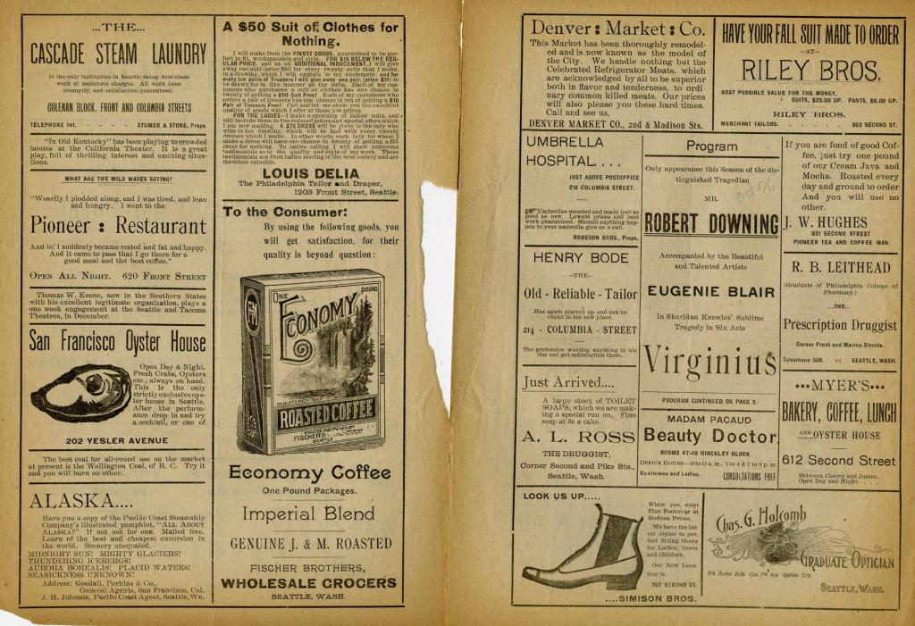 """Theater program for """"Virginius""""which played at the Seattle Theater on October 26, 1894."""