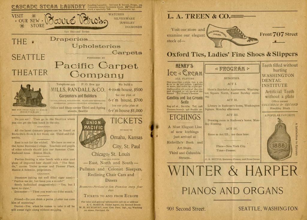 "Theater program for the Seattle Theater production of ""A Gilded Fool"" which played from June 8 to 9, 1893."