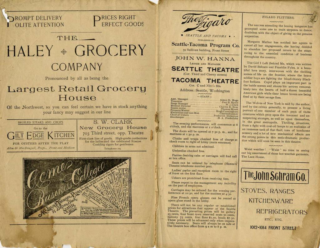"Theatre program for the ""Aristocracy"" which played at the Seattle Theatre from August 31-September 2nd 1893."