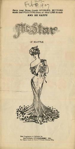 Program for the vaudeville acts performed at the Star Theater during the week of February 11, 1907.  This included Kelly and Reno, who were an acrobatic duo, and Eddie Roesch, a song illustrator.