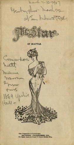 Star Theater program for the week of March 4-10, 1907. The vaudeville acts performed at the theater this week included acrobats, singing, and a minstrel show.
