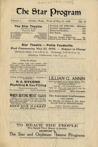 Star Theatre program for the vaudeville shows performed May 21 through 27, 1906.