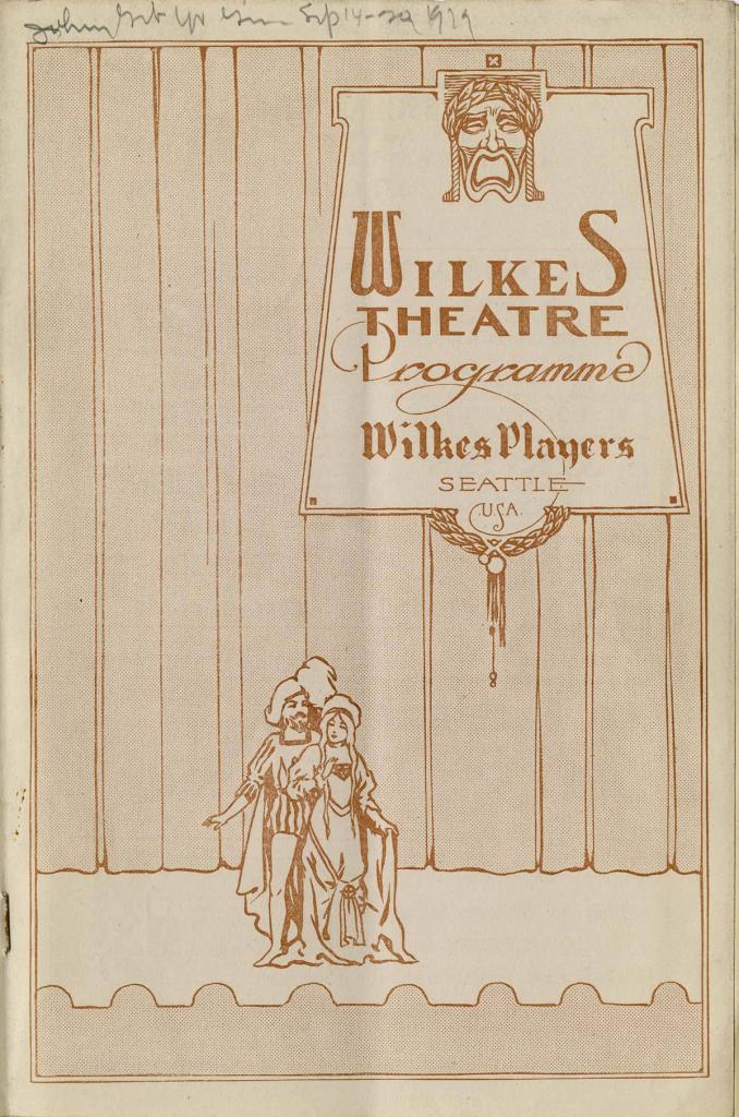 "Theater program for the 1919 production of ""Johnny Get Your Gun"" which played at the Wilkes theater from September 14-24."