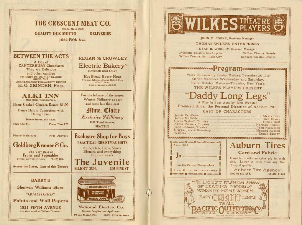 "Theater program for the production of ""Daddy Long Legs"" at the Wilkes Theater running from December 28-January 2nd, 1920."