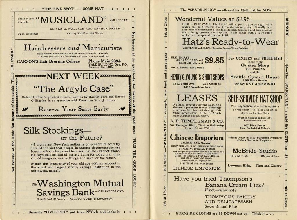 "Theater program from the Wilkes theater production of ""The Big Chance"", which played from June 13-19, 1920."